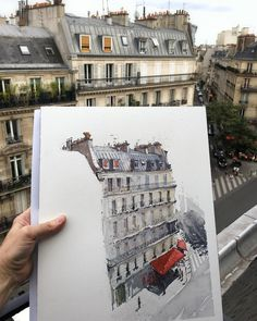 Sketching the wonderful Paris architecture in the mo… And here's the whole piece! Sketching the wonderful Paris architecture in the morning sun. Travel Sketchbook, Arte Sketchbook, Watercolor Architecture, Architecture Drawings, Parisian Architecture, Architecture Jobs, Urban Sketchers, Art Sketches, Art Drawings