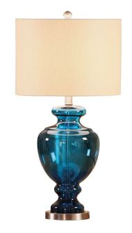 Saturated blue glass lamp- possible base for current shade they love?