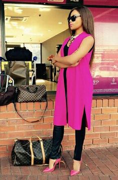 Bonang: Pink and black Stylish Outfits, Cute Outfits, Fashion Outfits, Womens Fashion, Work Outfits, Couture Mode, Couture Fashion, Beautiful South African Women, Everyday Dresses
