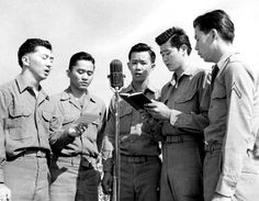 "17 Jun 42: Army advised to discontinue recruitment of Nisei, 2nd generation Americanss of Japanese parentage, all of whom are to be re-classified as ""IV-C: unacceptable for service because of ancestry."" Not until 1944 will they be allowed to enlist again. (photo: Choir group of US 442nd Regimental Combat Team soldiers sings at memorial ceremony for the 72 members of the 2nd Battalion who died in the first month of combat in Italy) More: http://scanningwwii.com/a?d=0617s=420617 #WWII"