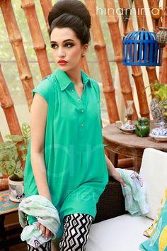 Latest Pret Wear Dresses 2014 For Women By Hina Mirza Collection 2014 ~ Your Choice For Dress Islamic Clothing, Kurta Designs, Tunic Blouse, Dresses 2014, Future Fashion, Pakistani Dresses, Office Wear, Kurtis, Tunics