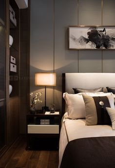 Home Decoration Inspiration Key: 8304292585 Bedroom Lamps Design, Modern Bedroom Design, Bedroom Decor, Bedroom Ideas, Wooden Bedroom, Lounge Design, Home Interior, Modern Interior, Interior Design