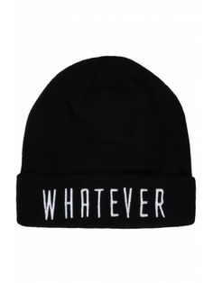 Black Slogan Beanie Hat