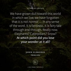 """We have grown dull toward this world in which we live; we have forgotten that it is not normal … in any sense of the word. It is fantastic. It is fairy tale through and through. Really now. Elephants? Caterpillars? Snow? At which point did you lose your wonder at it all? — John Eldredge (from """"Epic"""")"""