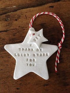 A lovely hanging decoration, hand printed with I thank my lucky stars for you. It would make a great Christmas gift for a partner or newlywed couple or
