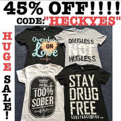 """SALE CONTINUED ONE MORE DAY!! Ummm heck yes!???! Yes!! Use code """"HECKYES"""" for 45% off this limited time blowout sale!! Regram this and tell your friends get us referrals and you may get some free stuff too  - - GO TO SUBSTANCEFORYOU.COM OR CLICK THE LINK IN THE BIO TO ORDER ASAP!!! Help us sell out of it all and get tons and tons and tons of new stuff to out on sale for you by spring! You down? GOOO! - - - #recoveryispossible  #sober #sobriety #sobermovement #Soberissexy #partysober…"""