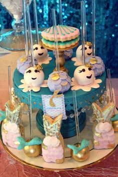Wow! Check out these cake pops at a mermaid birthday party! See more party ideas at CatchMyParty.com!