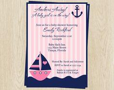 Nautical Baby Shower Invitations Anchor by TheInviteLadyShop