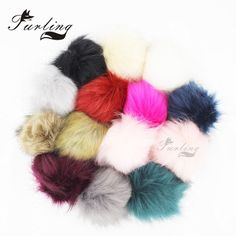 Furling Fashion Soft Fluffy 11CM Faux Fox Fur Pom Pom Ball with Press Stud Button Multicolor for Beanie Cap  Accessories DIY