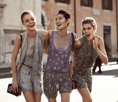 Roos Abels, Chiharu Okunugi and Luna Bijl flash smiles in embellished looks for Emporio Armani's spring 2017 campaign
