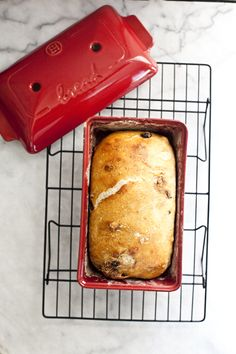 Raisin Walnut Bread (Baked in an Emile Henry Bread Baker with Red Star Platinum Yeast)