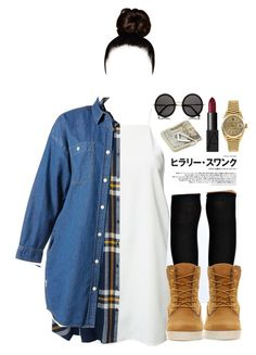 """""""fugee la"""" by skaiisaylor ❤ liked on Polyvore featuring Dark Pink, Monki, Boohoo, :CHOCOOLATE, Timberland, The Row, Rolex and Crate and Barrel"""