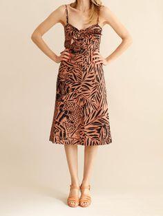 No. 6 - STELLA TIE FRONT DRESS - CLAY SAFARI