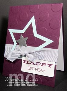 Stampin' Up! - July 2014 Wish Big Paper Pumpkin Kit - This is an alternate card idea - used the stamps and the Blackberry Bliss ink spot.  Star Framelits & Big Shot.