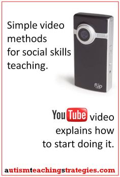 If you have an Iphone or a flip camera you can start adding a new dimension right away with your social skills teaching for kids with Asperger's and other autism spectrum disorders. Tags: Asperger's, autism, social skills teaching, video, role plays. This was pinned by pinterest.com/joelshaul/ Follow all our boards.