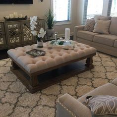 Living room decorating ideas three tips for color schemes, furniture arrangement and home decor 58 Living Room Decor Cozy, Ottoman In Living Room, My Living Room, Living Room Furniture, Furniture Nyc, Farmhouse Furniture, Luxury Furniture, Furniture Design, Tufted Ottoman Coffee Table