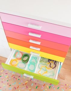 How I store cookie cutters in my colorful baking studio! I The Sprinkle Factory Diy Interior, Interior Design, Baking Organization, Organization Ideas, Cookie Decorating Supplies, Baking Supplies, Kitchen Supplies, Baking Station, Bakery Kitchen
