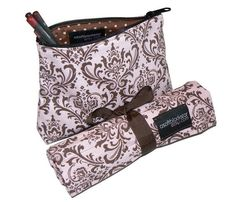 Makeup Brush Roll and Makeup Bag Travel Set by asoftblackstar, $31.49