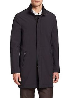 Saks Fifth Avenue Collection Solid Raincoat - Black - Size