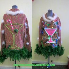 Martini Glasses Olives Party! Fun Tacky Ugly Christmas Sweater Size XL, FooFoo Feather Boa Trim, Light UP Sweater, Martini Glasses by tackyuglychristmas on Etsy
