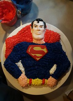 Superman cake I made by using 1977 Wilton cake pan. Superhero.
