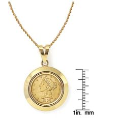 $5 LIBERTY GOLD PIECE HALF EAGLE COIN IN 14K DOME SHAPED BEZEL
