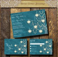 Lights Wedding Invitation Suite String by GooseCornerGreetings
