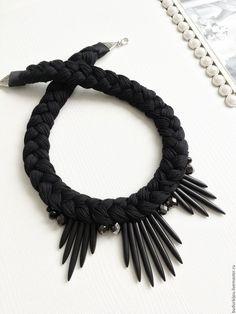 Купить Колье- коса - черный, колье, колье ручной работы, колье коса, колье крупное