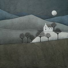 The moon and the stars - Natasha Newton Landscape Art Quilts, Illustration Art, Illustrations, House Quilts, Mail Art, Fabric Art, Textile Art, Collage Art, Art Lessons