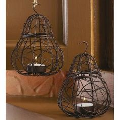 """Tag Entertaining Wire Pear Tealight Candle Holder Lantern, Antique Bronze, 6.25"""" Tall $10.00 & eligible for FREE Super Saver Shipping"""