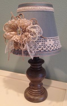 Cottage chic, shabby chic, handmade, girls room, decorated lamps, bedside lamps, table lamps, aqua and brown, lace and burlap, small lamps