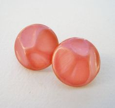 Vintage 60s Retro Kitsch Signed Japan Free Form Salmon Pink Circular Round Domed Cabochon Earrings by ThePaisleyUnicorn, $4.00