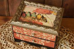 Bird Jewelry Box  Wood Jewelry Box  Treasure by FestiveHomeDesigns, $38.00