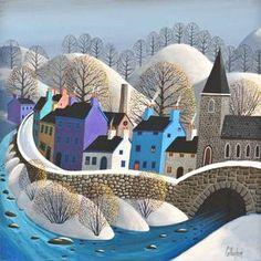 / illustration by george callaghan / Art Works, Art Painting, Folk Art, Naive Art, Naive Painting, Art, Winter Art, Landscape Art, Love Art