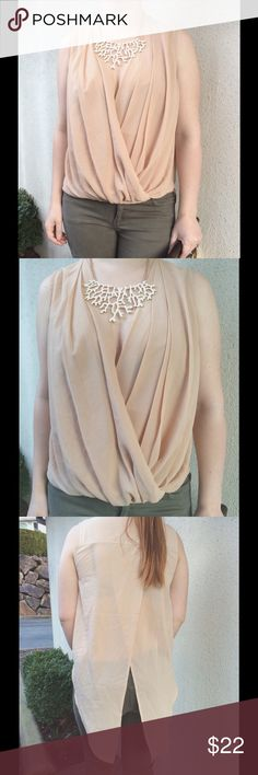 Beige Tuxedo Blouse Nude drape Blouse with tuxedo back. 100% Polyester. You can tie the back in a knot to open up the front more if you want to show a little more skin. Semi sheer. Tops Blouses