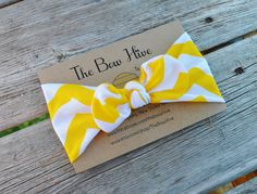 Love This Headband- Yellow Chevron Knotted Headband  Jersey Knit by TheBowHive on Etsy, $8.50