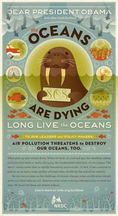 "Full page ad designed by Jessica Hische which ran in the New York times to promote the movie ""Acid Test"" which deals with the environmental troubles the ocean is experiencing and hopes to motivate viewers to consider the oceans as well as they take steps toward living greener lives."