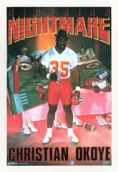 Christian Okoye. Design by the Costacos Brothers.