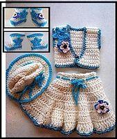 Ravelry: 550-S, COWGIRL Set, skirt, vest, hat, booties pattern by Emi Harrington