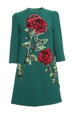 Double Crepe Sequin Rose Embroidered Shift by Dolce & Gabbana for Preorder on Moda Operandi