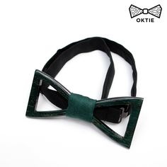OKTIE Classic Wooden Bow Tie Handmade Bowtie Wood Accessories Gift for Men Ash curved bow tie Green