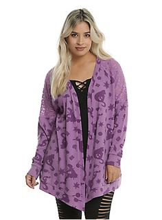 """<div>Have you seen the light yet? You need this purple flyaway cardigan! The open front cardigan has a lace shoulder panel and features iconic images from Disney's 50th animated film,<i>Tangled</i>, including Rapunzel, her tower, Pasquel and more.</div><div><ul><li style=""""list-style-position: inside !important; list-style-type: disc !important"""">95% polyester; 5% spandex</li><li style=""""list-style-position: inside !important; list-style-type: disc !important"""">Wash cold; hang dry</l..."""