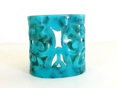 SOLD Vintage Plastic Cut Out Bracelet Cuff Marbled by VintageRenude