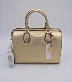 NWT MICHAEL Michael Kors Mercer Pale Gold Leather Medium Satchel Shoulder  Bag  MichaelKors  Satchel d84c9f7139b2e