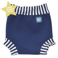 Splash About Happy Nappy Swim Diaper Navy White Stripe -X Large 12-24 Months