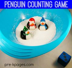 Fun Penguin Counting Game for Preschool and Kindergarten.  Hands-on Counting Game that helps Develop Counting, Number Sense, and One-to-One Correspondence Skills.