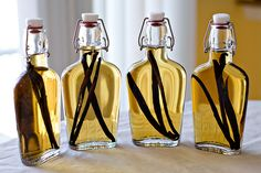 Homemade vanilla extract. Could be a cute gift idea as well. I wish I could find out where she got those bottles, they are so pretty!