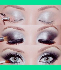 Smokey eye with Silver, Black, and White shadows! Hot