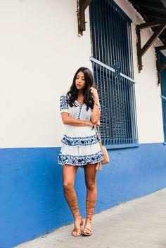 casco viejo panama travel blogger blue white dress love shack fancy poppy dress gladiator sandals gucci camera bag tan girl model hair style fashion not your standard