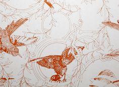 Taxidermy Birds Wallpaper in Tangerine | Daniel Heath Studio | www.danielheath.co.uk